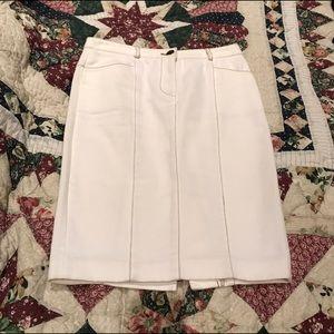 Diane Von Furstenberg cream colored denim skirt.